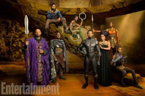 Marvel Studios' BLACK PANTHER Forest Whitaker as Zuri, Daniel Kaluuya as W'Kabi, Michael B. Jordan as Erik Killmonger, Lupita Nyong'o as Nakia, Chadwick Boseman as Black Panther/T'Challa, Angela Bassett as Ramonda, Danai Gurira as Okoye, and Letitia Wright as Shuri photographed exclusively for Entertainment Weekly by Kwaku Alston on March 18, 2017 in Atlanta, Georgia. Kwaku Alston © 2017 MVLFFLLC. TM & © 2017 Marvel. All Rights Reserved.