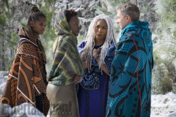Marvel Studios' BLACK PANTHER L to R: Shuri (Letitia Wright), Nakia (Lupita Nyong'o), Ramonda (Angela Bassett) and Everett K. Ross (Martin Freeman) Credit: Matt Kennedy/©Marvel Studios 2018