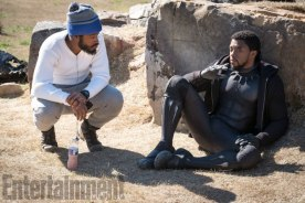 Marvel Studios' BLACK PANTHER L to R: Director Ryan Coogler and Chadwick Boseman (T'Challa/Black Panther) on set Credit: Matt Kennedy/©Marvel Studios 2018